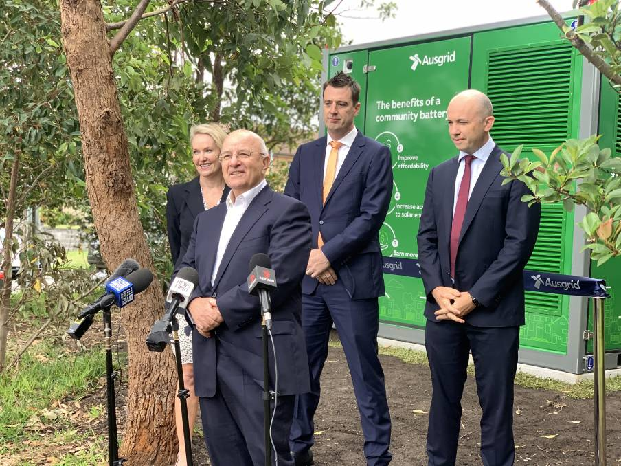 GREEN IDEAS: Liberal MLC Natalie Ward, mayor Michael Regan, Minister for Energy and Environment Matt Kean and (front) Ausgrid CEO Richard Gross at the official launch of the community battery in Beacon Hill on Monday. Picture: Nadine Morton